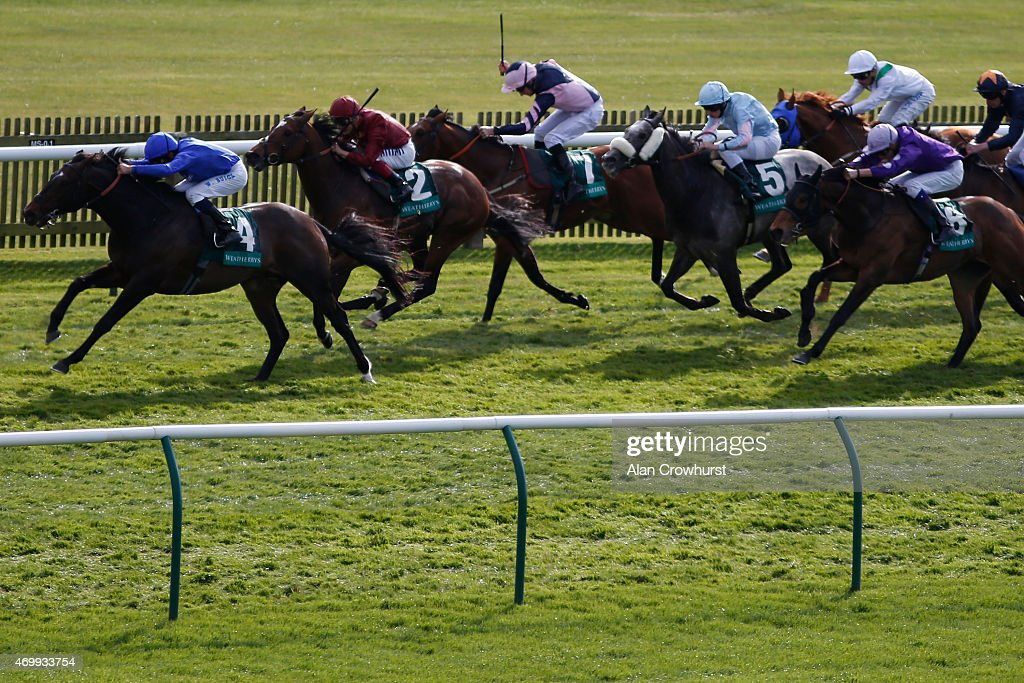 William Buick riding French Navy win The Weatherbys General Stud Book Earl Of Sefton Stakes at Newmarket racecourse on April 16 2015 in Newmarket...
