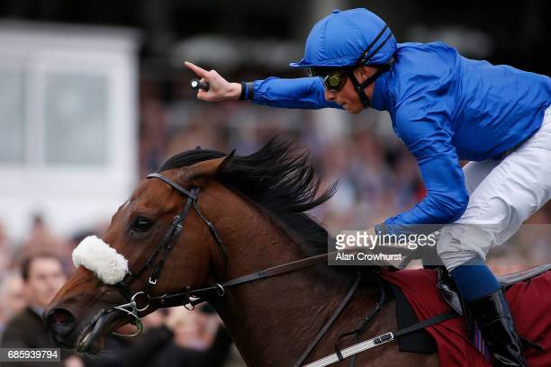 William Buick riding Ribchester win The Al Shaqab Lockinge Stakes at Newbury racecourse on May 20 2017 in Newbury England