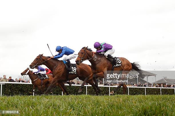 William Buick riding Secret Brief win The Betway Lincoln at Doncaster racecourse on April 02 2016 in Doncaster England