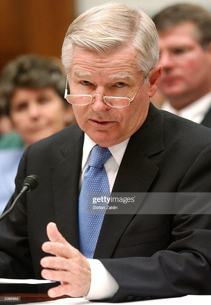 William Bulger president of the University of Massachusetts testifies before the House Government Reform Committee on Capitol Hill June 19 2003 in...