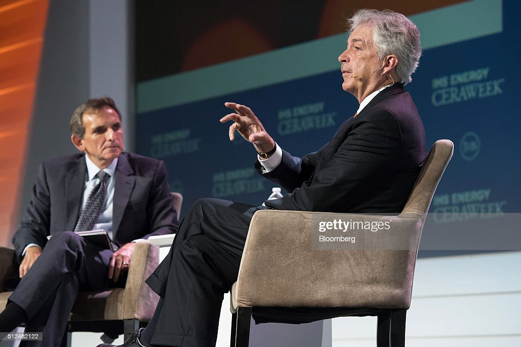 William Burns, president of the Carnegie Endowment for International Peace, right, speaks as Carlos Pascual, senior vice president of Global Energy and IHS Chair, listens during the 2016 IHS CERAWeek conference in Houston, Texas, U.S., on Friday, Feb. 26, 2016. CERAWeek, in its 35th year, will provide new insights and critically-important dialogue with energy industry leaders, experts, government officials and policymakers, and leaders from the technology, financial and industrial communities. Photographer: Matthew Busch/Bloomberg via Getty Images