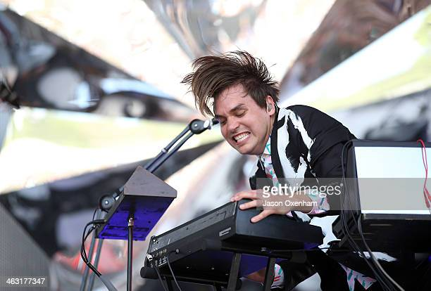 William Butler of Arcade Fire performs live for fans during the 2014 Big Day Out Festival at Western Springs on January 17 2014 in Auckland New...