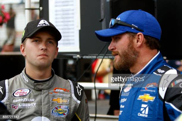 William Byron and Dale Earnhardt jr during the running of the 36th annual Food City 300 Xfinity race at Bristol Motor Speedway on August 182017