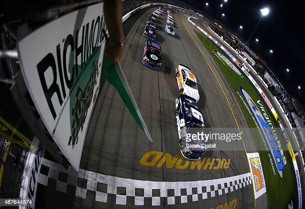 William Byron driver of the Liberty University Chevrolet leads the field to green during the KN Pro Series East UNOH 100 at Richmond International...