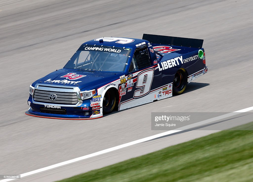 William Byron, driver of the #9 Liberty University Toyota, practices for the NASCAR Camping World Truck Series 16th Annual Toyota Tundra 250 on May 05, 2016 in Kansas City, Kansas.
