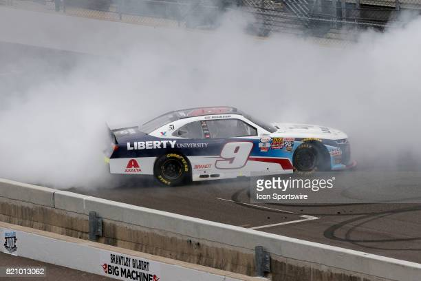 William Byron JR Motorsports Chevrolet Camaro does his victory bun out after winning the NASCAR Xfinity Series Lilly Diabetes 250 July 22 at the...