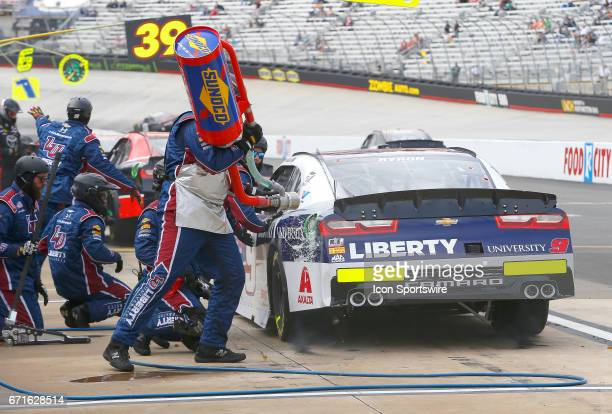 William Byron pits during the Fitzgerald Glider Kits 300 NASCAR Xfinity Series race on April 22 2017 at Bristol Motor Speedway in Bristol TN