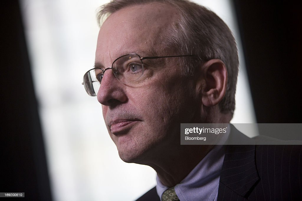 William C. Dudley, president and chief executive officer of the Federal Reserve Bank of New York, chats after an interview in New York, U.S., on Tuesday, May 21, 2013. Dudley said he has not decided whether the Fed's next move should be to enlarge or shrink its bond buying program as he called for a fresh look at its eventual retreat from record asset purchases. Photographer: Scott Eells/Bloomberg via Getty Images