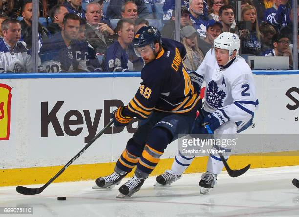William Carrier of the Buffalo Sabres skates against Matt Hunwick of the Toronto Maple Leafs during an NHL game at the KeyBank Center on April 3 2017...