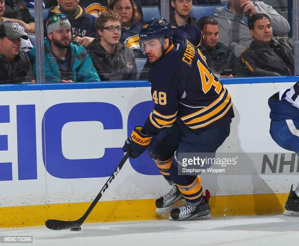 William Carrier of the Buffalo Sabres skates against the Toronto Maple Leafs during an NHL game at the KeyBank Center on April 3 2017 in Buffalo New...