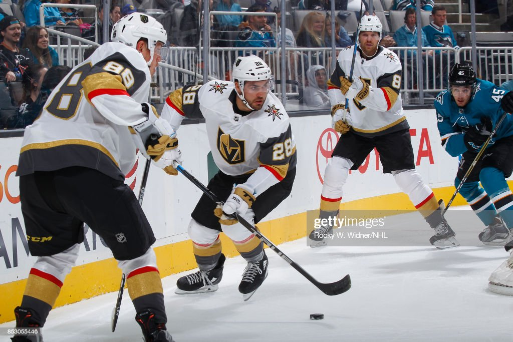 William Carrier #28 of the Vegas Golden Knights skates with the puck against the San Jose Sharks at SAP Center on September 21, 2017 in San Jose, California.