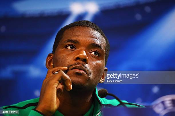William Carvalho attends a Sporting Club de Portugal press conference ahead of their UEFA Champions League Group G match against FC Schalke 04 at...