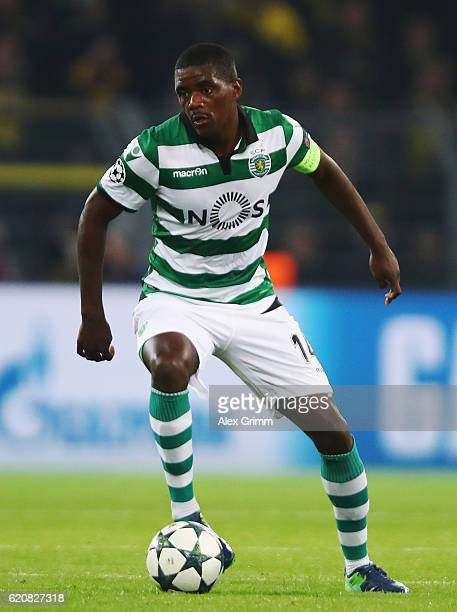 William Carvalho of Sporting controles the ball during the UEFA Champions League Group F match between Borussia Dortmund and Sporting Clube de...