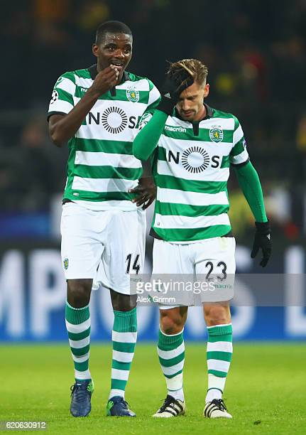 William Carvalho of Sporting CP and Adrien Silva of Sporting CP react during the UEFA Champions League Group F match between Borussia Dortmund and...