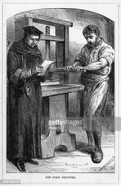 William Caxton the first man to print and publish books in England Caxton reading proofs fresh off the press From 'Great Inventors' London c1882