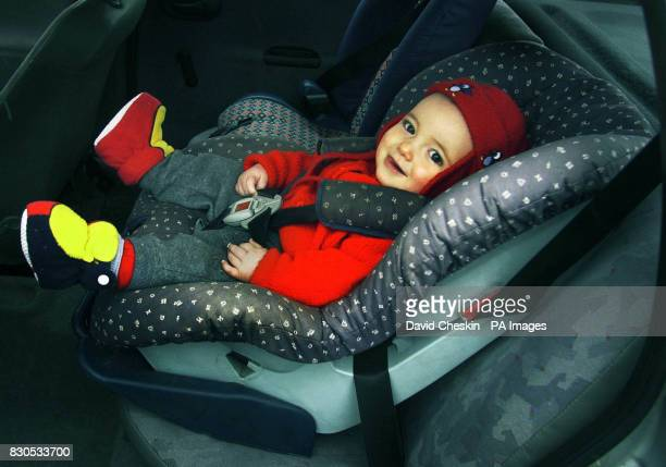 William Cheskin from Peebleshire in Scotland sits in his car seat as a national campaign encouraging parents to fit their child car seats properly is...