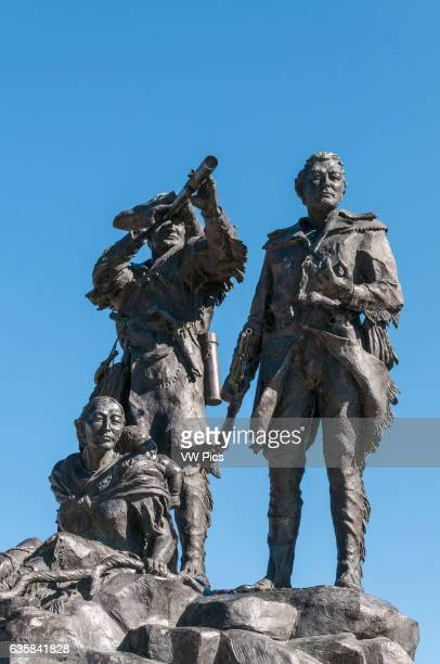 William Clark Meriwether Lewis and Sacagawea portrayed in the bronze statue 'Montana Memorial' by sculptor Bob Scriver located in the waterfront park...