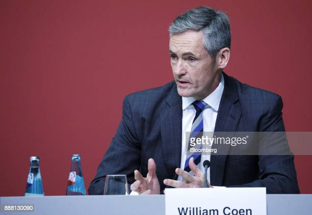 William Coen secretary general of the Basel Committee speaks during a Basel III capital rules news conference at the European Central Bank...