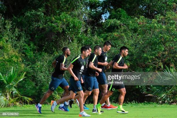 William Da Silva Edson Alvarez Miguel Zamudio Pablo Aguilar and Silvio Romero of America train during the Pre Season training for the Torneo Apertura...