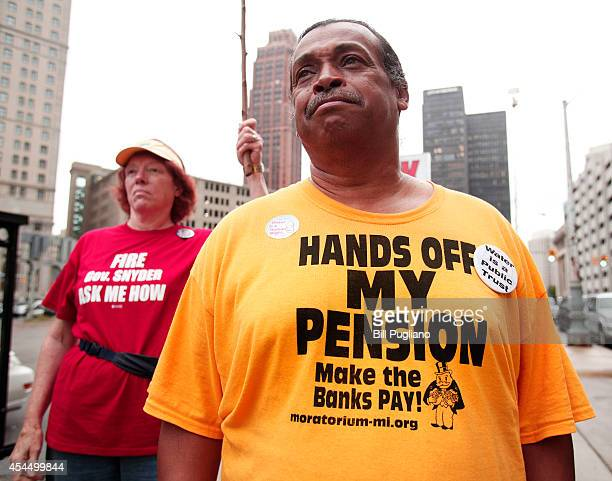 William Davis of Detroit Michigan a City of Detroit retiree who worked for the city's water treatment plant for 24 years protests at the start of the...