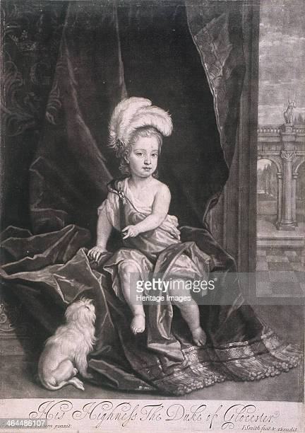 William Duke of Gloucester as a child Portrait of the duke sitting on a curtain wearing plumes on his head and loose dress with a dog at his feet...
