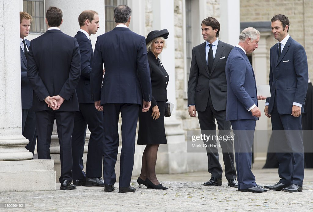 William, Edward, Hugh Jnr and Nicholas van Cutsem with Prince William, Prince Harry, Prince Charles, Prince of Wales and Camilla, Duchess of Cornwall attend a requiem mass for Hugh van Cutsem who passed away on September 2nd 2013, at Brentwood Cathedral on September 11, 2013 in Brentwood, England.