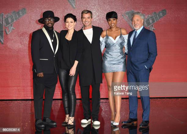 william Emma Willis Gavin Rossdale Jennifer Hudson and Tom Jones attend a photocall for the final of The Voice UK at LH2 on March 29 2017 in London...