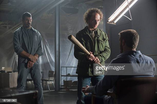 HAVEN 'William' Episode 409 Pictured Robert Maillet as Heavy Kyle Mitchell as Sinister Adam 'Edge' Copeland as Dwight Hendrickson Photo by Michael...