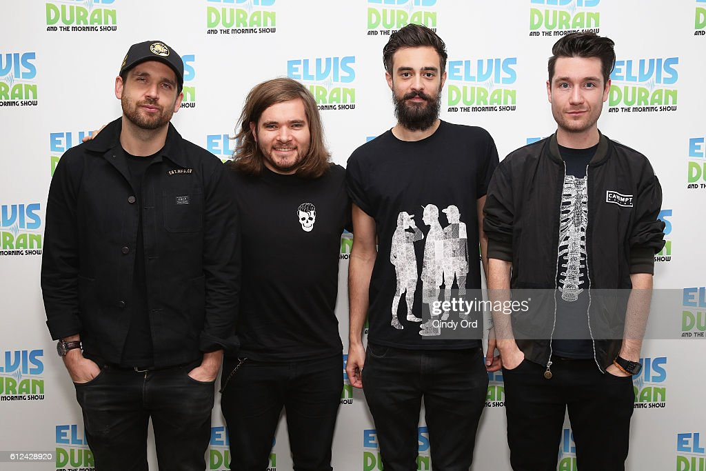 William Farquarson, Chris 'Woody' Wood, Kyle J. Simmon and Dan Smith of Bastille visit 'The Elvis Duran Z100 Morning Show' at Z100 Studio on October 4, 2016 in New York City.