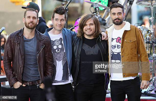 William Farquarson Dan Smith Chris 'Woody' Woods and Kyle Simmons of Bastille perform on NBC's 'Today' at the NBC's TODAY Show on October 6 2014 in...
