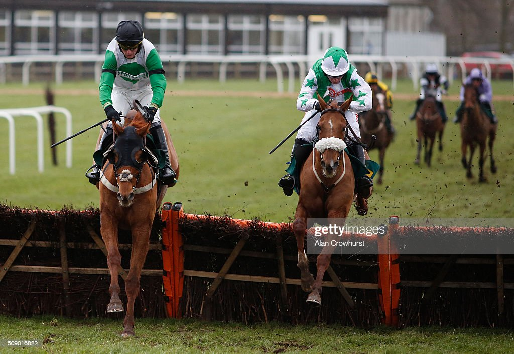 William Featherstone riding Daliance (L) clear the last to win The EPDS RAcing Welfare BTO Series Handicap Hurdle Race from Lee Side Lady (R) at Fakenham racecourse on February 08, 2016 in Fakenham, England.