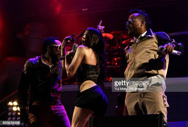 william Fergie and apldeap of Black Eyed Peas performing during the 2009 Glastonbury Festival at Worthy Farm in Pilton Somerset