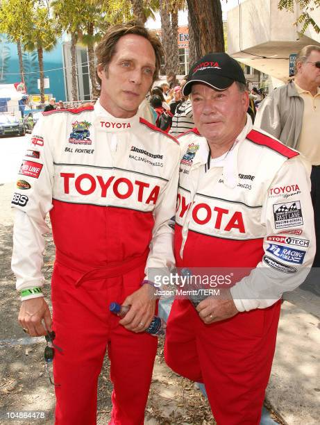 William Fichtner and William Shatner during 30th Anniversary Toyota Pro/Celebrity Race Qualifying Day at Streets of Long Beach in Long Beach...