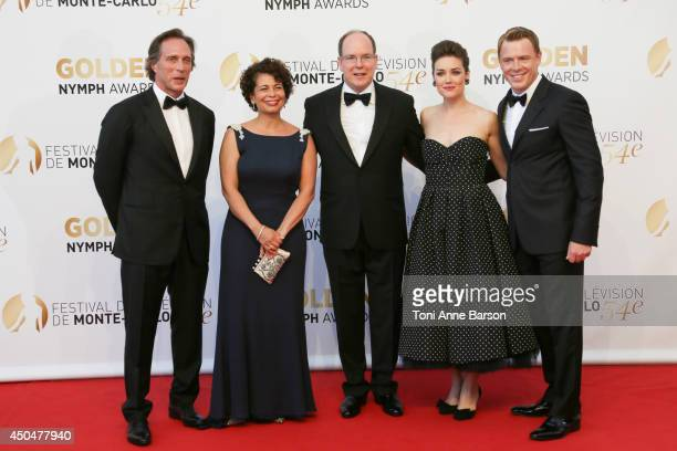 William Fichtner Rola Bauer Prince Albert II of Monaco Megan Boone and Diego Klattenhoff attend the Closing Ceremony and Golden Nymph Awards of the...
