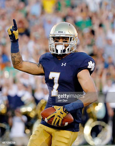 William Fuller of the Notre Dame Fighting Irish celebrates after making a touchdown reception against the Texas Longhorns during the first quarter at...