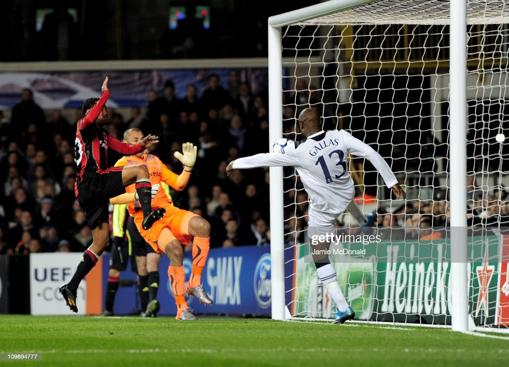 William Gallas (R) of Tottenham clears the effort of Robinho (L) of Milan off the line during the UEFA Champions League round of 16 second leg match between Tottenham Hotspur and AC Milan at White Hart Lane on March 9, 2011 in London, England.