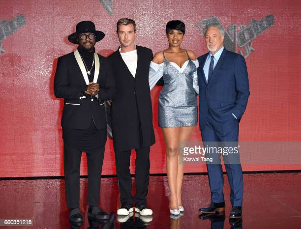 william Gavin Rossdale Jennifer Hudson and Tom Jones attend a photocall for the final of The Voice UK at LH2 on March 29 2017 in London United Kingdom