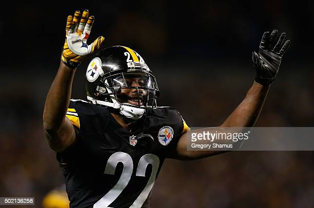 William Gay of the Pittsburgh Steelers celebrates a blocked pass to Emmanuel Sanders of the Denver Broncos in the fourth quarter of the game at Heinz...