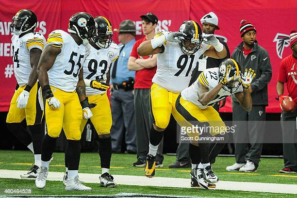 William Gay of the Pittsburgh Steelers celebrates an interception and touchdown with Stephon Tuitt in the first half against the Atlanta Falcons at...