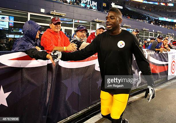 William Gay of the Pittsburgh Steelers greets fans before a game against the New England Patriots at Gillette Stadium on September 10 2015 in Foxboro...
