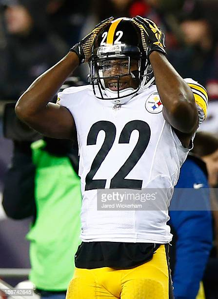 William Gay of the Pittsburgh Steelers reacts after an incomplete pass against the New England Patriots at Gillette Stadium on November 3 2013 in...