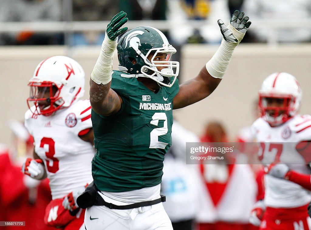 William Gholston #2 of the Michigan State Spartans reacts after a second quarter third down stop while playing the Nebraska Cornhuskers at Spartan Stadium Stadium on November 3, 2012 in East Lansing, Michigan.