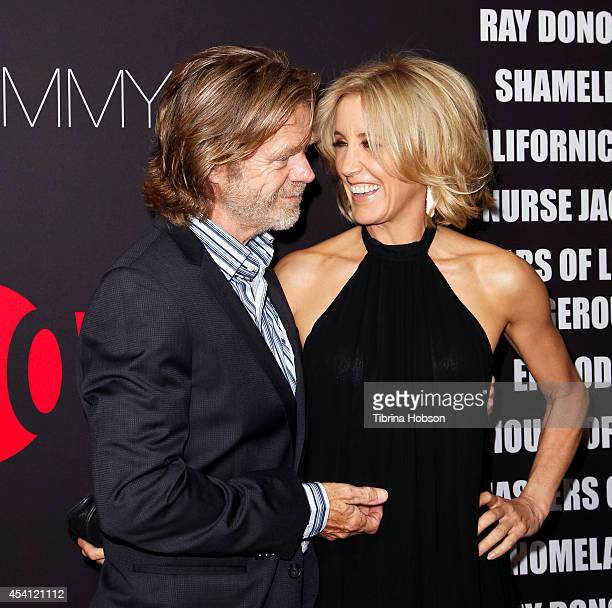 William H Macy and Felicity Huffman attend Showtime's 2014 'EmmyEve Soiree' at Sunset Tower on August 24 2014 in West Hollywood California