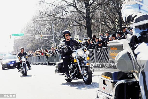 William H Macy and John Travolta during 'Wild Hogs' Atlanta Press Conference at Georgia State Capitol in Atlanta Georgia United States