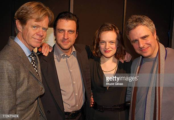 William H Macy Raul Esparza Elisabeth Moss and director Neil Pepe pose backstage at 'Speed The Plow' on Broadway at The Barrymore Theater on January...