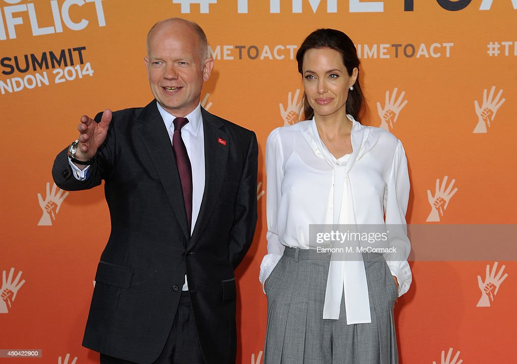 William Hague and Angelina Jolie attend the Global Summit To End Sexual Violence In Conflict at ExCel on June 11, 2014 in London, England.