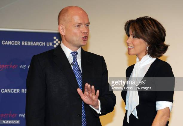 William Hague and Natasha Kaplinsky speak during the Cancer Research UK tenth annual Turn the Tables event at BAFTA London