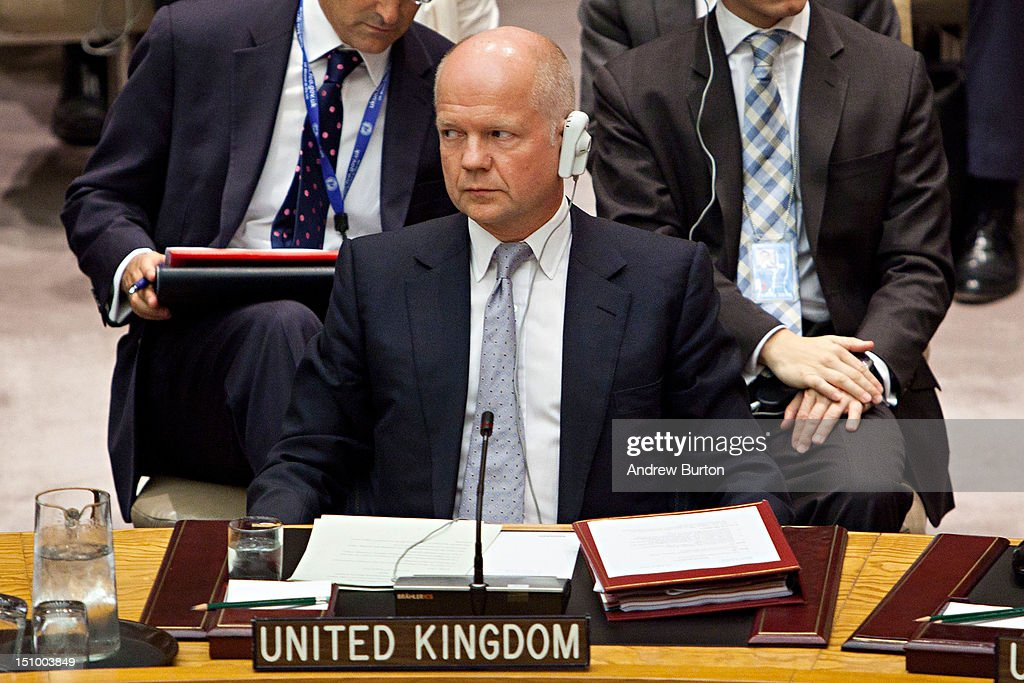 <a gi-track='captionPersonalityLinkClicked' href=/galleries/search?phrase=William+Hague&family=editorial&specificpeople=206295 ng-click='$event.stopPropagation()'>William Hague</a>, foreign secretary of the United Kingdom, attends a United Nations (UN) Security Council meeting regarding the on-going situation in Syria on August 30, 2012 in New York City. UN Security Council negotiations regarding the situation in Syria collapsed last month.