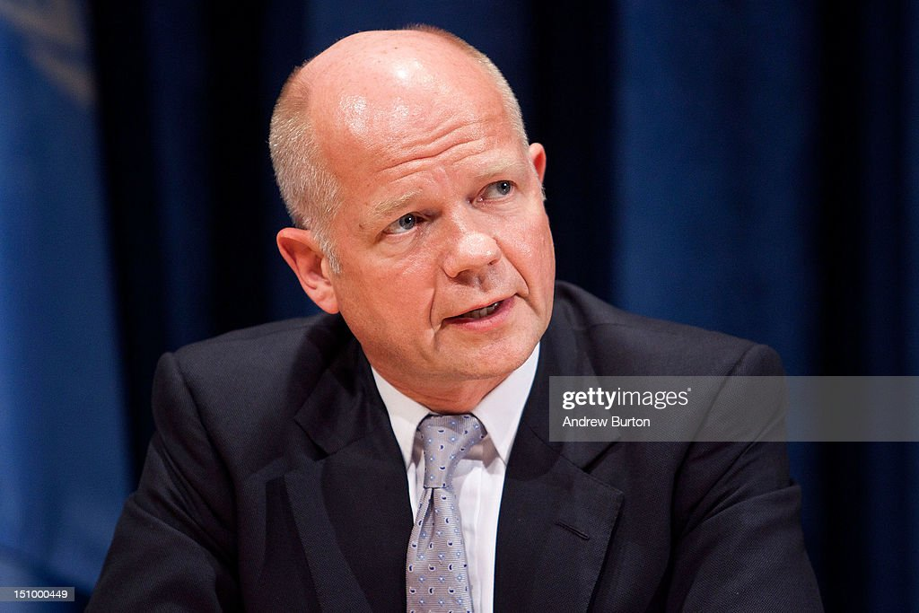 <a gi-track='captionPersonalityLinkClicked' href=/galleries/search?phrase=William+Hague&family=editorial&specificpeople=206295 ng-click='$event.stopPropagation()'>William Hague</a>, foreign secretary of the United Kingdom, speaks at a news conference with Laurent Fabius, minister for Foreign Affairs of France and president of the Security Council (not seen) on the continuing situation in Syria on August 30, 2012 in New York City. The British and French representatives urged for greater UN resources to be allocated to the Syrian refugees currently displaced by the nation's ongoing civil war. UN Security Council negotiations regarding the situation in Syria collapsed last month.