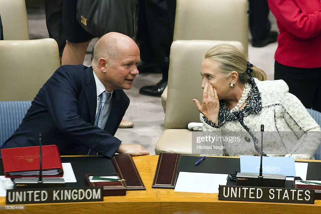 <a gi-track='captionPersonalityLinkClicked' href=/galleries/search?phrase=William+Hague&family=editorial&specificpeople=206295 ng-click='$event.stopPropagation()'>William Hague</a> (L), Foreign Secretary of the United Kingdom, talks with U.S. Secretary of State <a gi-track='captionPersonalityLinkClicked' href=/galleries/search?phrase=Hillary+Clinton&family=editorial&specificpeople=76480 ng-click='$event.stopPropagation()'>Hillary Clinton</a>, during a United Nations Security Council meeting on peace and security in Middle East on September 26, 2012 in New York City. The 67th annual event gathers more than 100 heads of state and government for high level meetings on nuclear safety, regional conflicts, health and nutrition and environment issues.